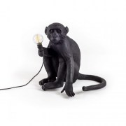 Monkey Lamp Black Sitting
